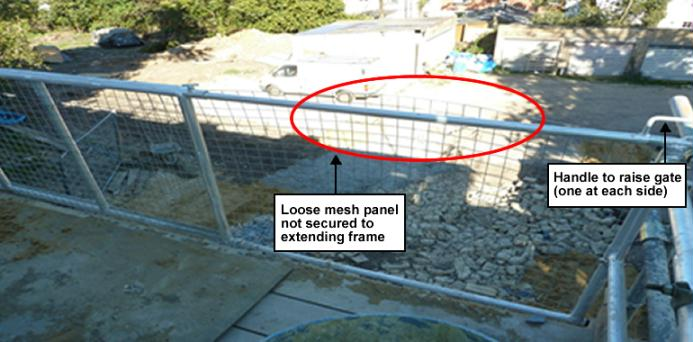 Photo 2 - loose mesh panel not secured to extending frame
