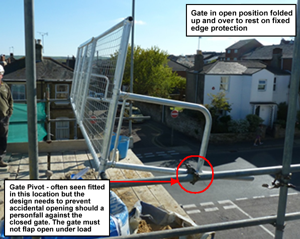 Gate in open position folded up and over to rest on fixed edge protection