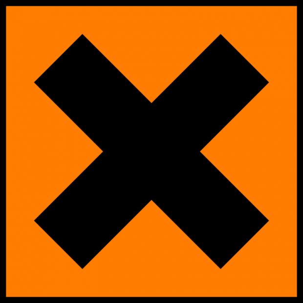 Old irritant hazard symbol